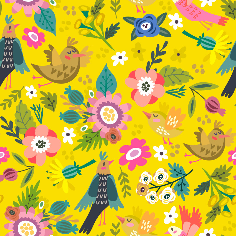 Yellow_bright_spring_floral_pattern